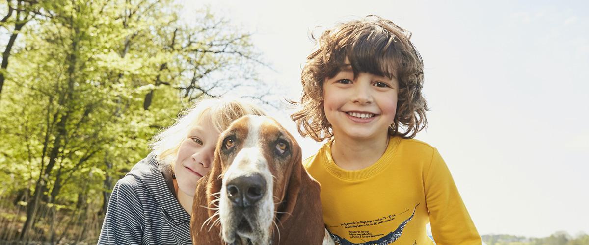 Kinder spielen im Herbst mit Hund