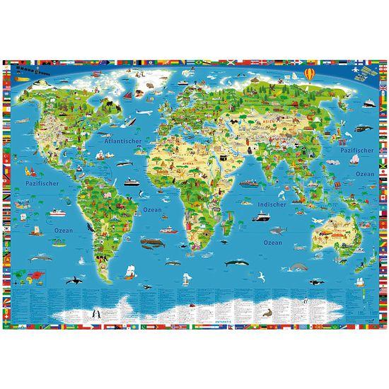 Kinder Schreibtischunterlage Weltkarte