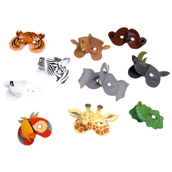 kinder tiermasken wildtiere jako o 10 st ck bastelideen. Black Bedroom Furniture Sets. Home Design Ideas