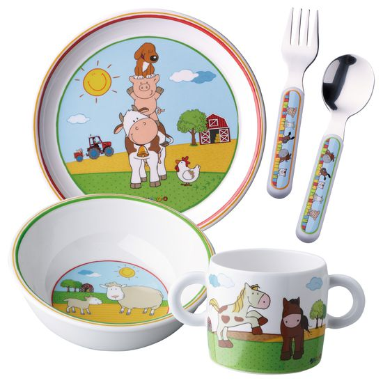 melamine crockery set 5 piece farmyard 865 null jako o best for kids. Black Bedroom Furniture Sets. Home Design Ideas