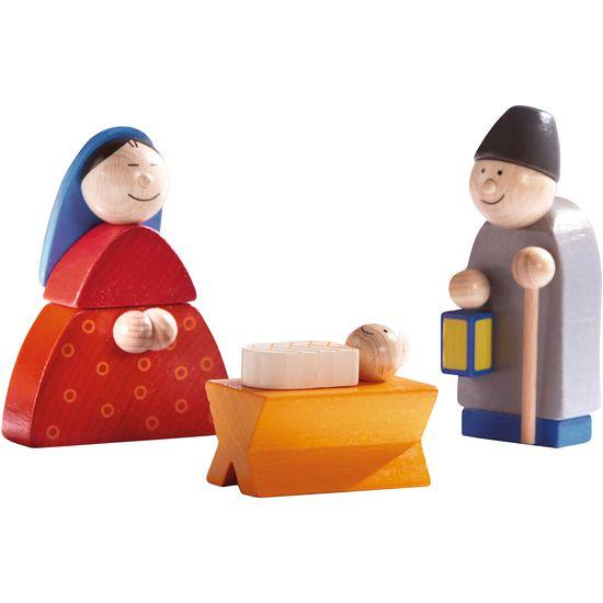 Haba Weihnachtskrippe.Krippenfiguren Maria Josef Kind In Krippe Haba