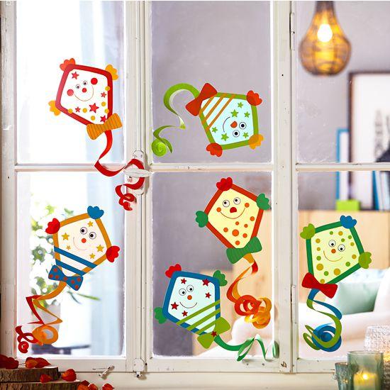 Sachenmacher fensterbilder drachen jako o bastelset f r 6 for Fensterbilder kinderzimmer