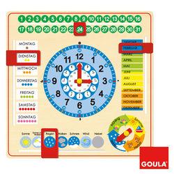 GOULA® Kalender und Lernuhr aus Holz